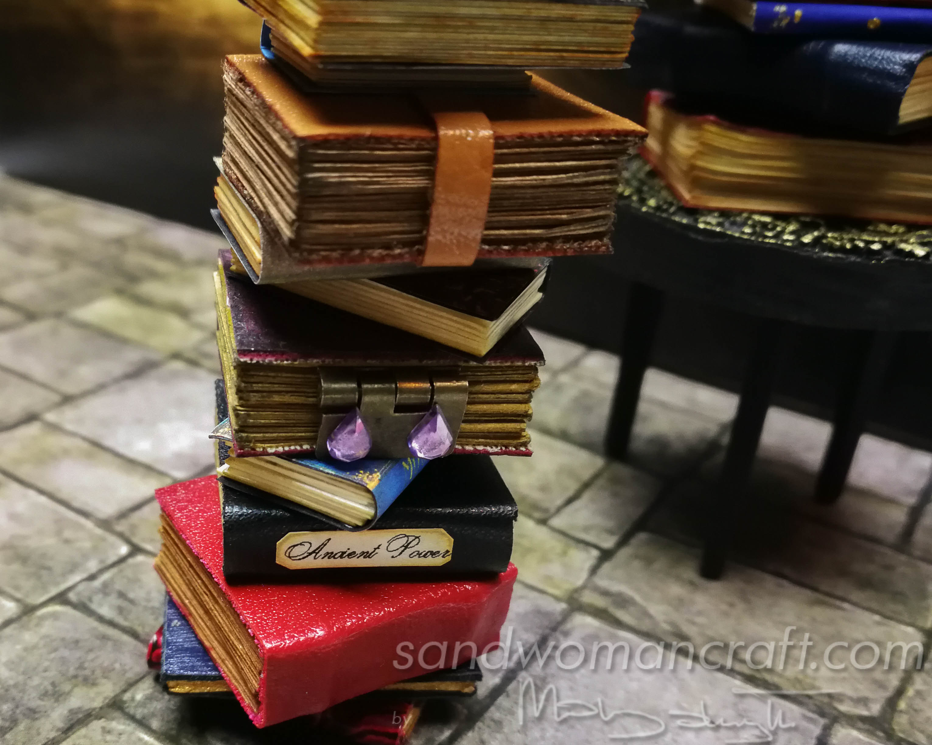 Miniature leather spell books