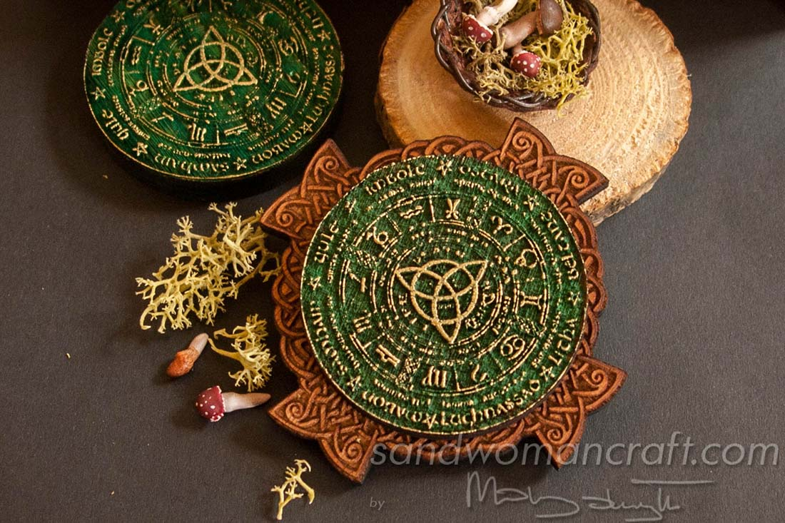 Celtic Wheel Of The Year with mushrooms and herbs setting