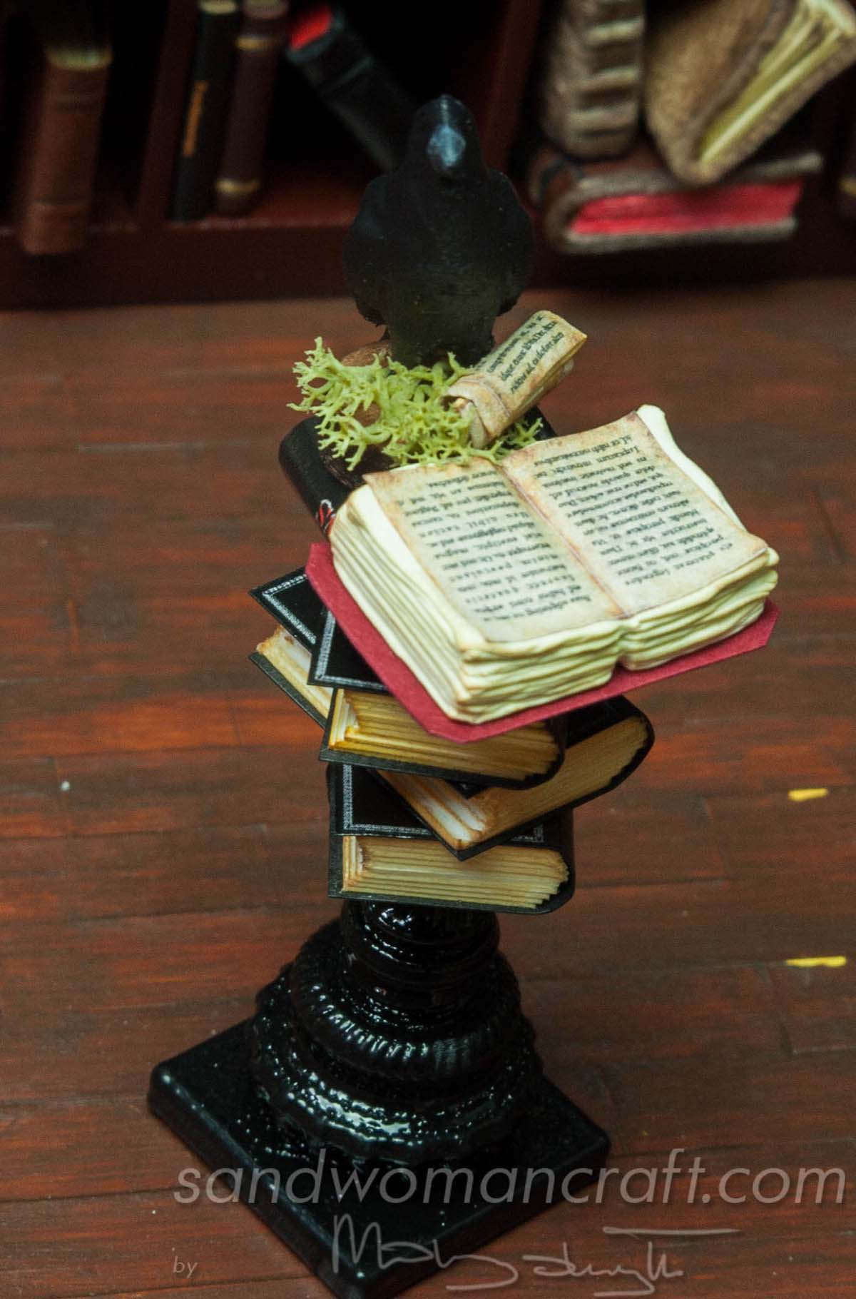 Miniature book stack with Crow for Halloween setting