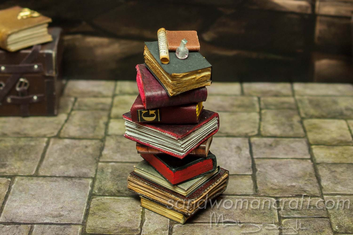 Miniature leather books stack- vampire theme