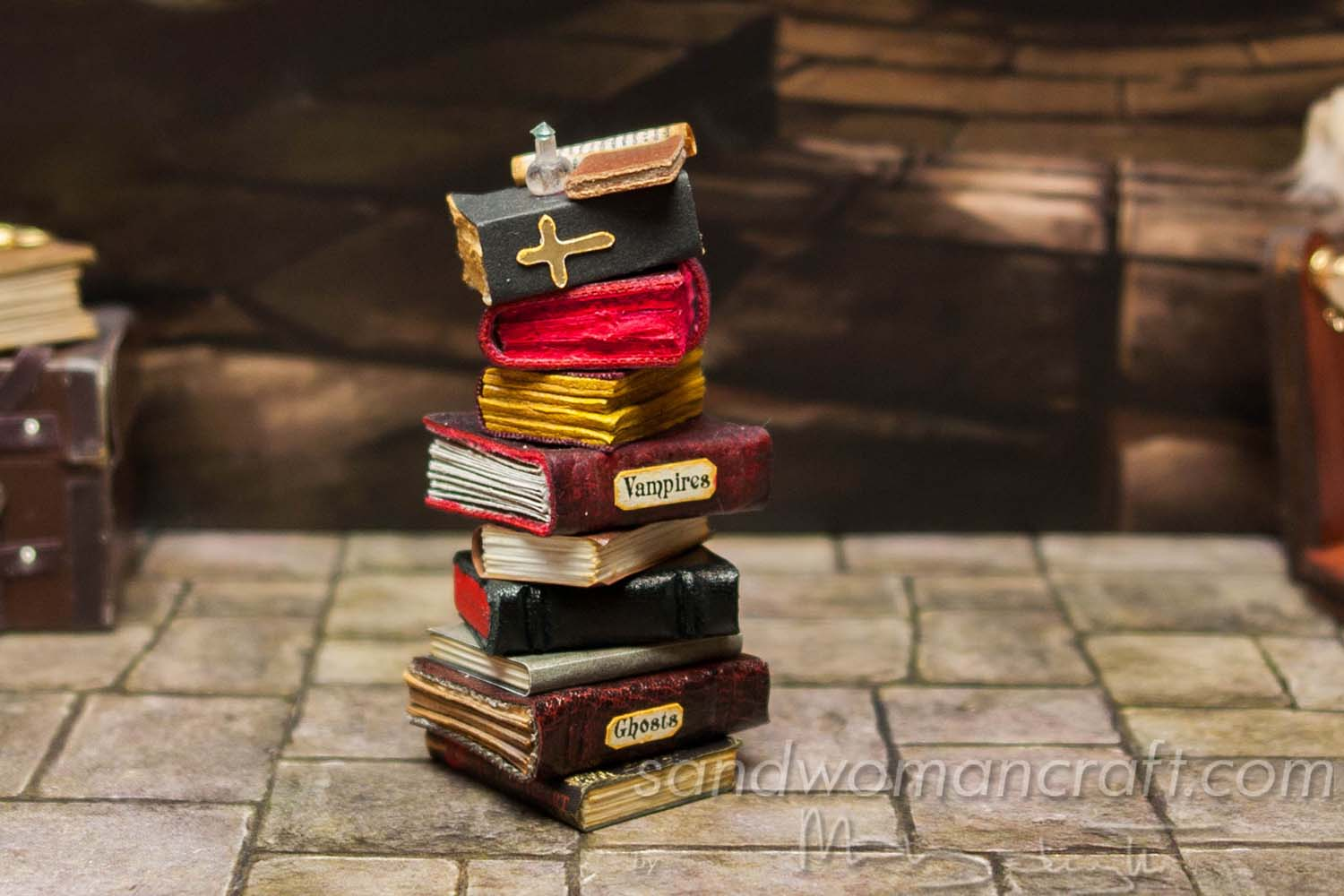 Spooky pile of miniature leather decorated books... Vampire theme.