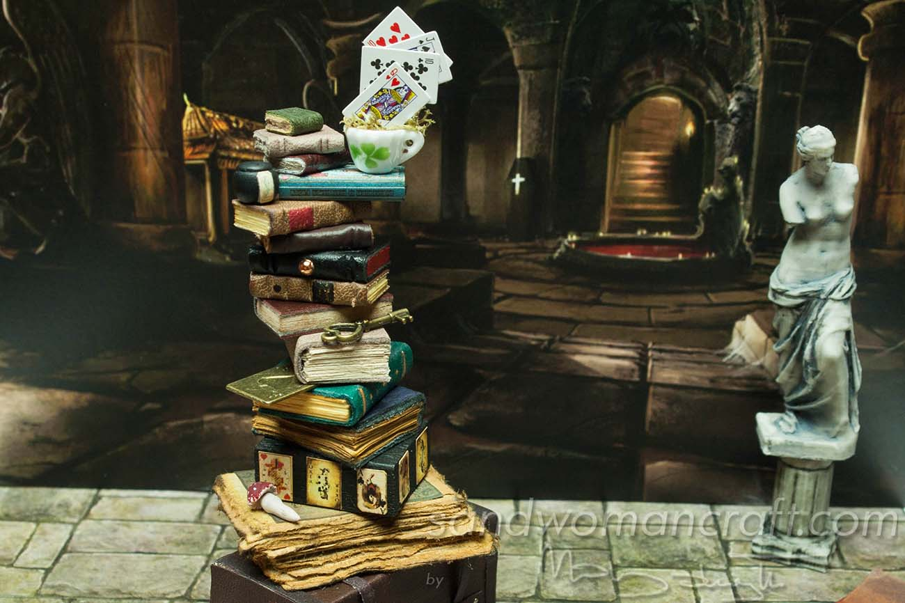 Miniature mixed media stacks  Alice in Wonderland theme