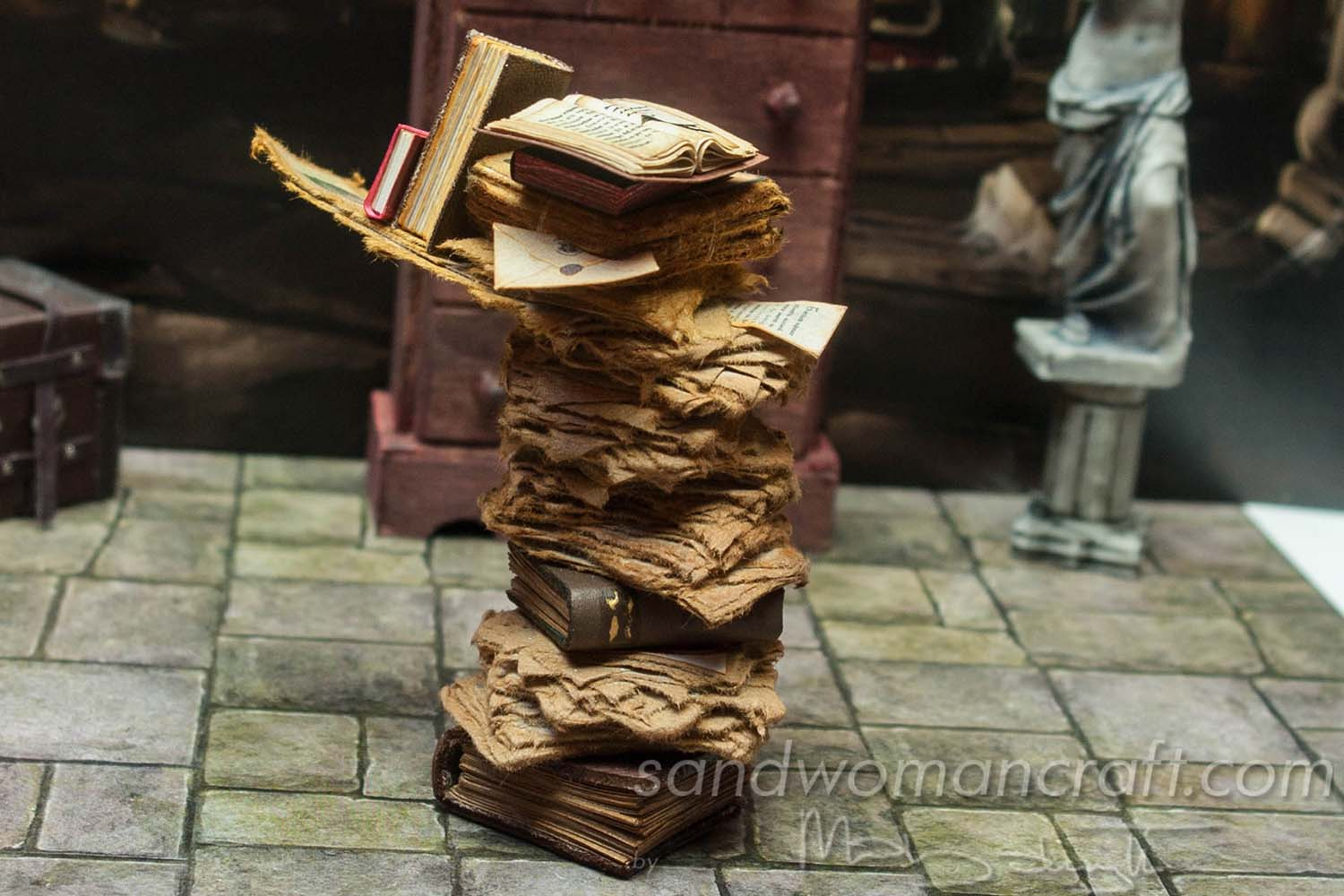 Miniature paper stack in 1:12 scale