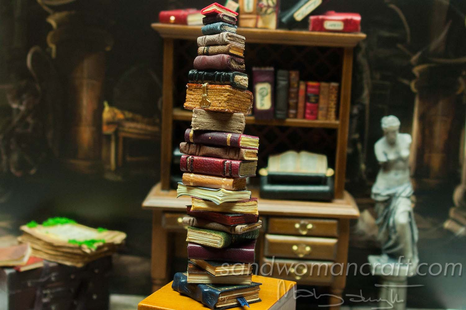 Miniature book stack Moonstone