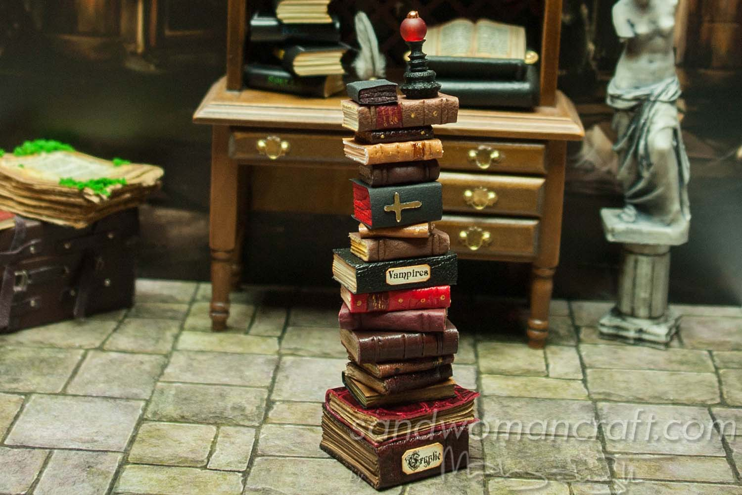 Miniature book stack Vampires Cryptic in 1:12 scale