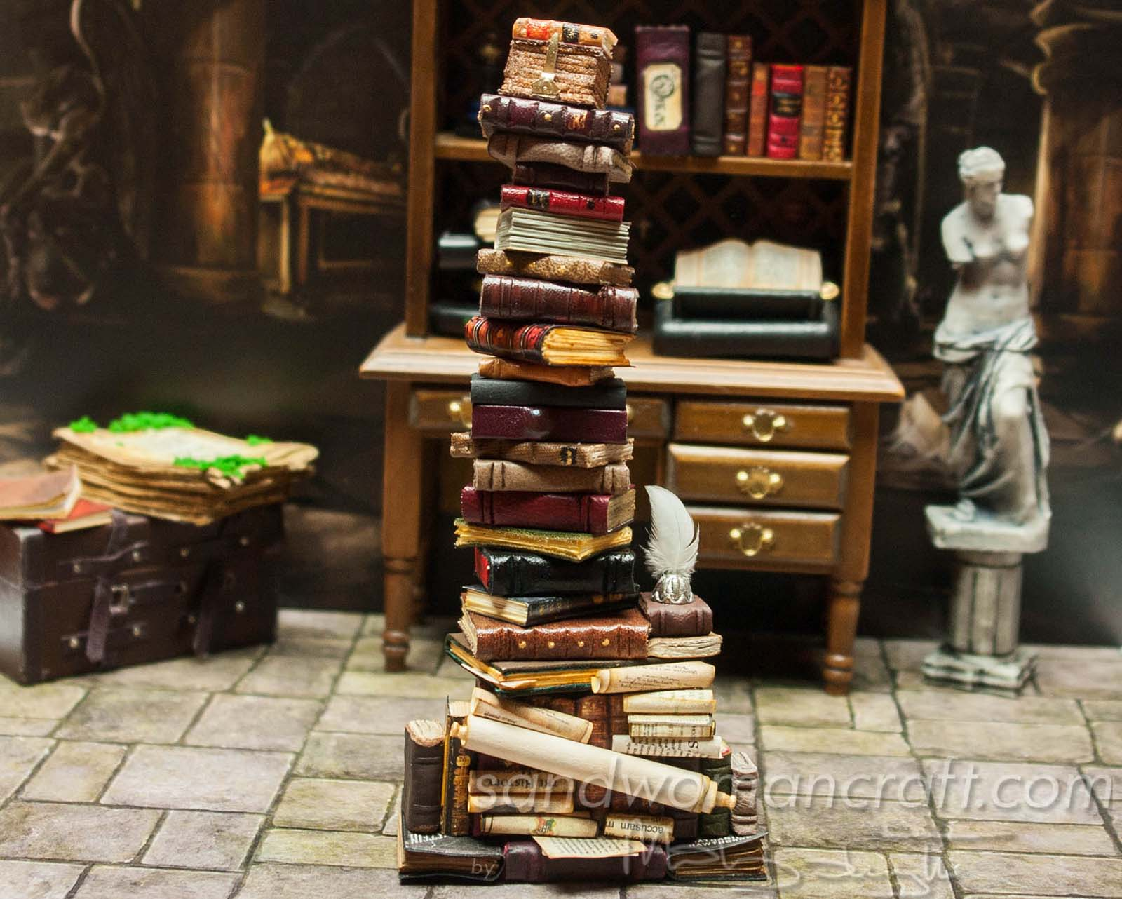 Miniature book stack for dollhouse miniatures