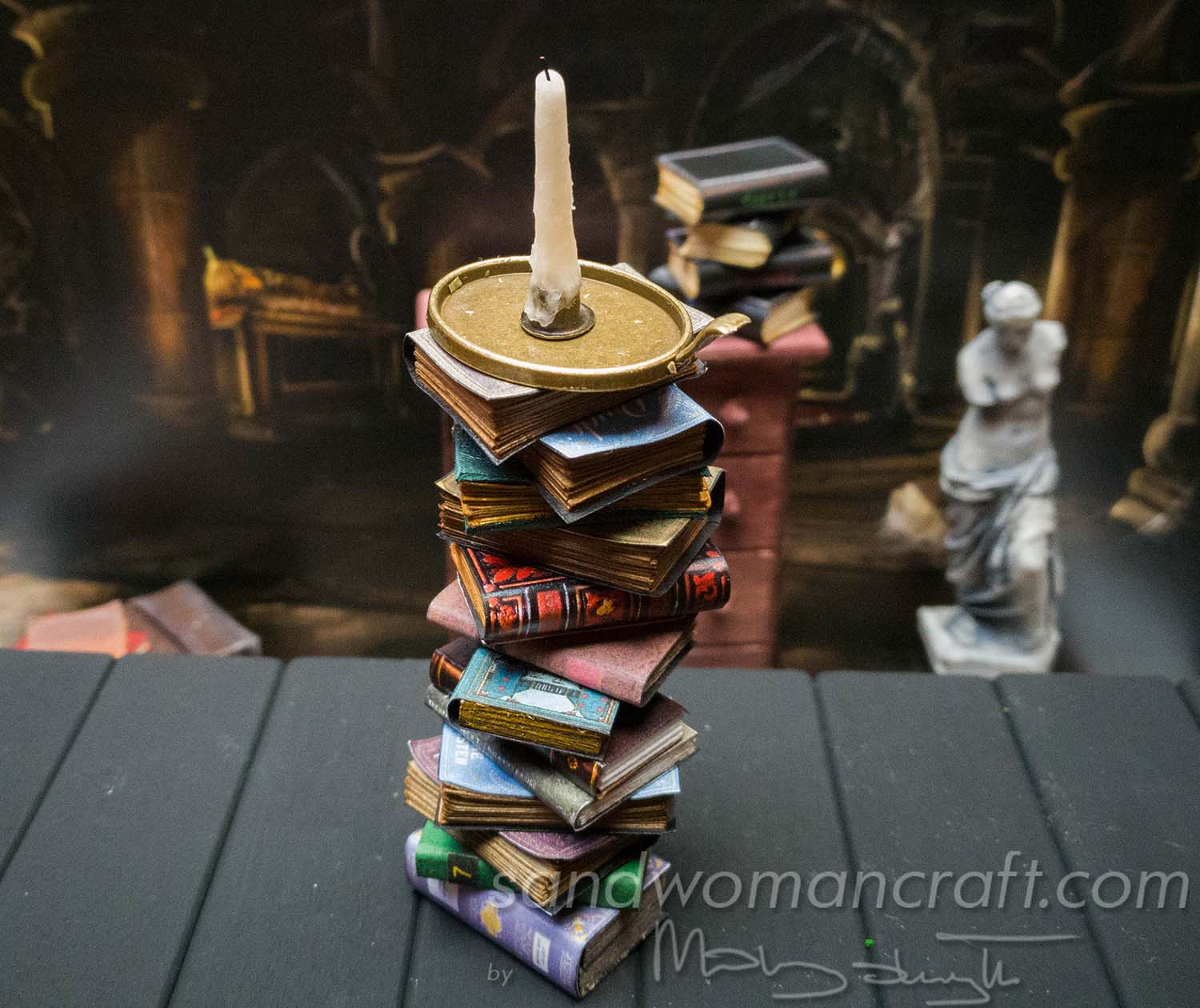 Pile of miniature books in 1:12 scale