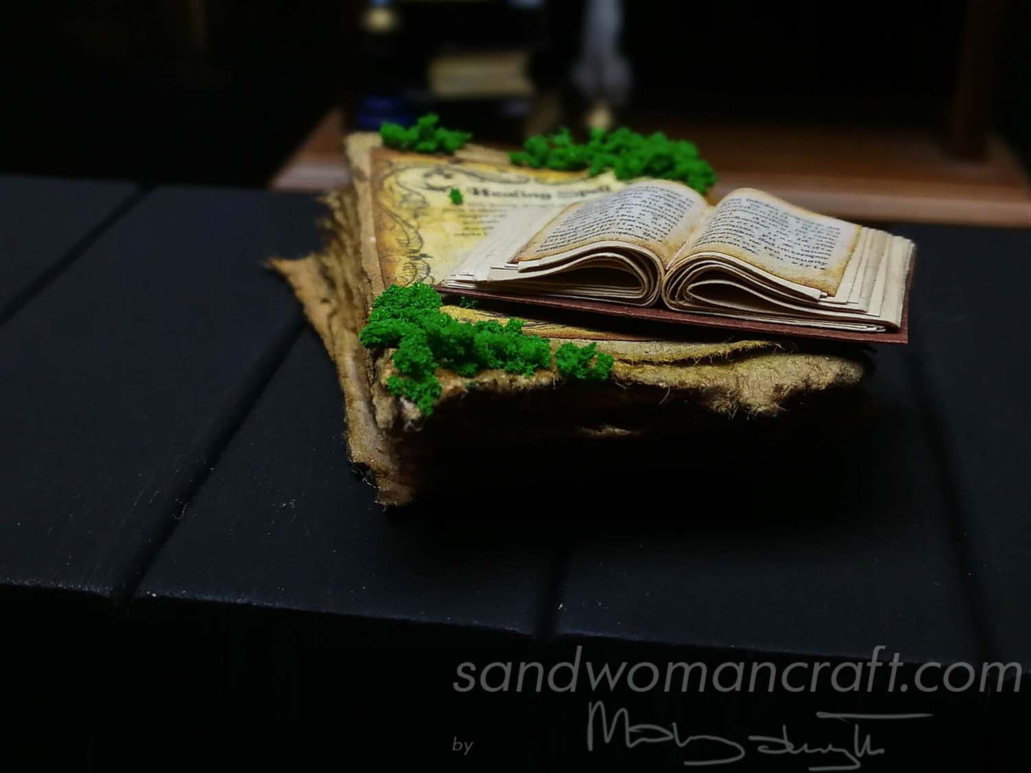 Miniature open book with plain text