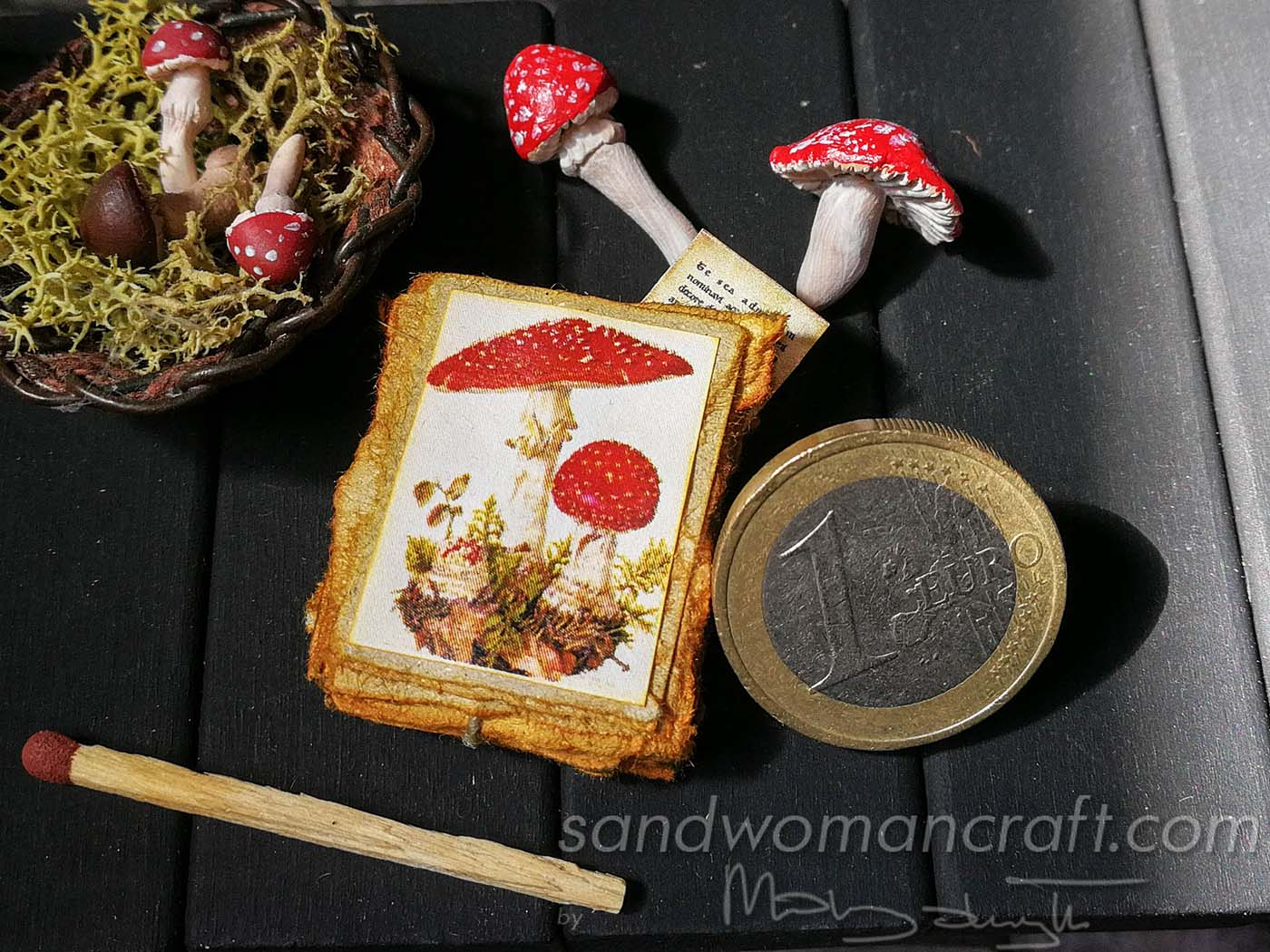 Miniature paper stack with Toadstools Mushrooms