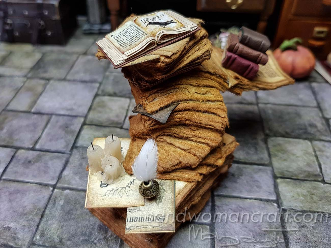 Miniature stack with aged papers