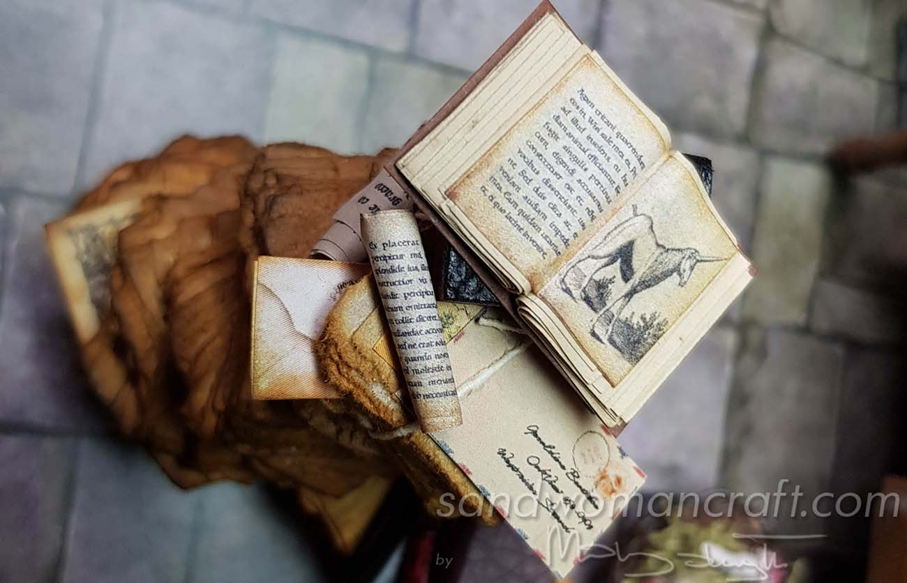 Handmade miniature stack with Unicorn Book