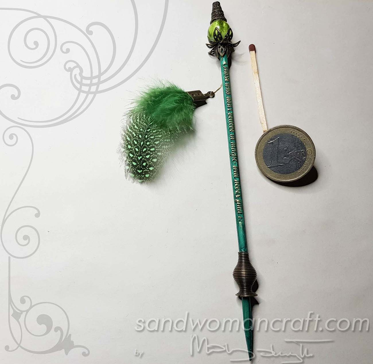 Miniature wizard's walking stick in green colour