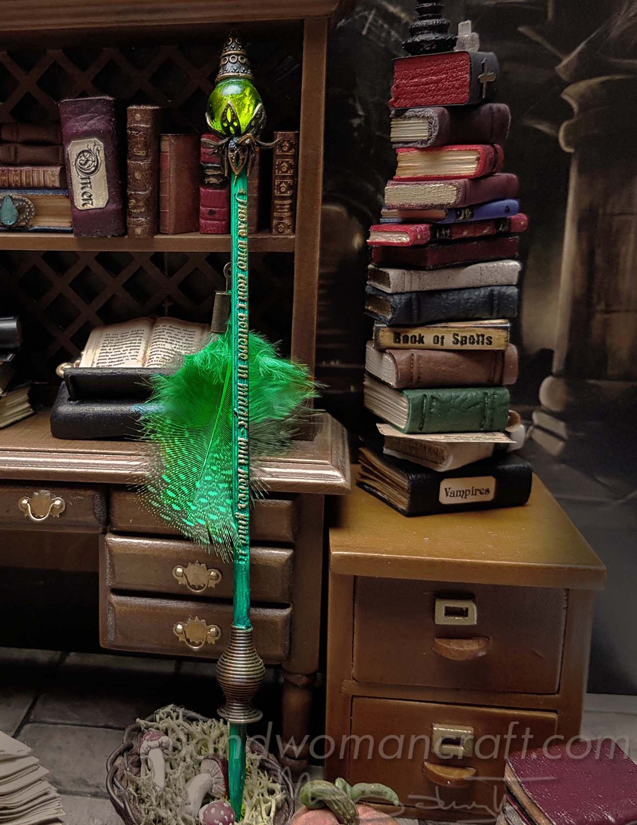 Miniature green magic wand