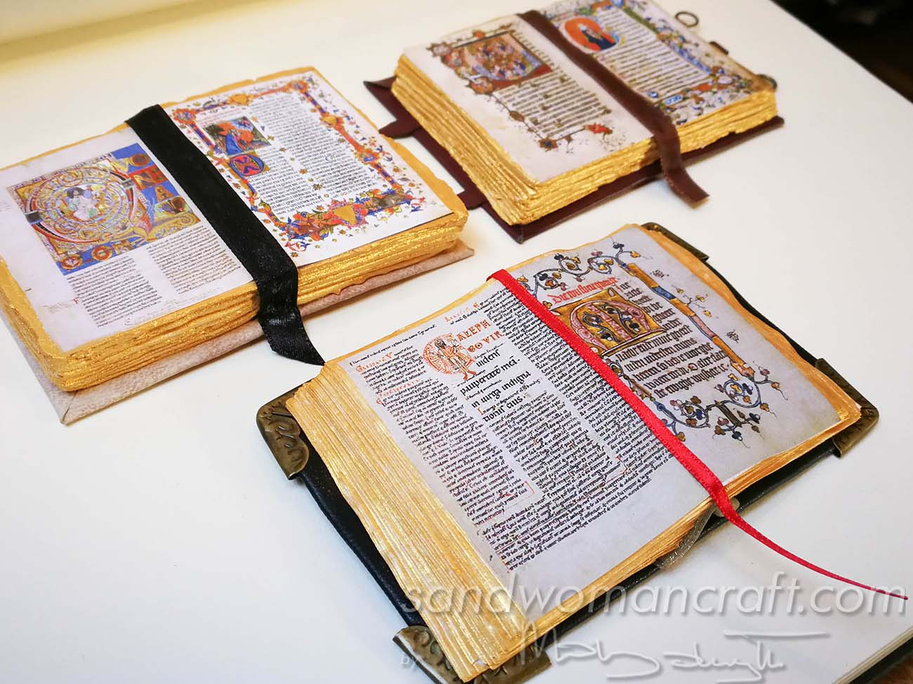 Miniature open books in 1:6 scale. Medieval theme