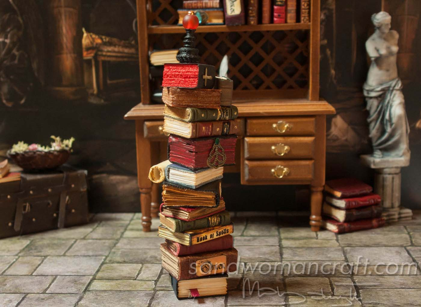 Miniature book stack vampire theme
