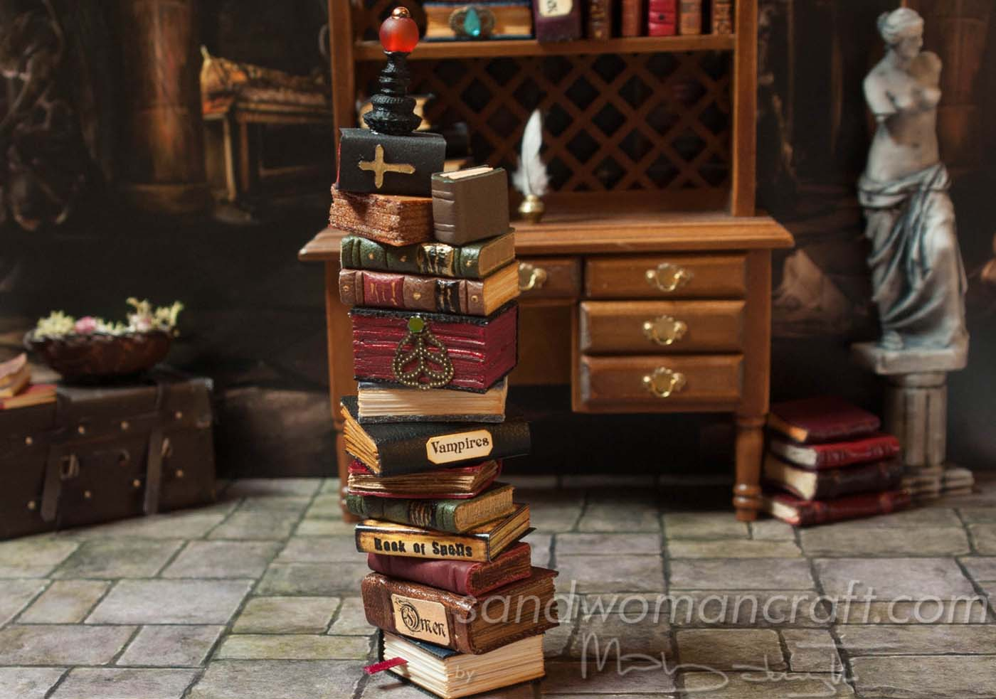 Dollhouse miniature book stack... Vampire theme