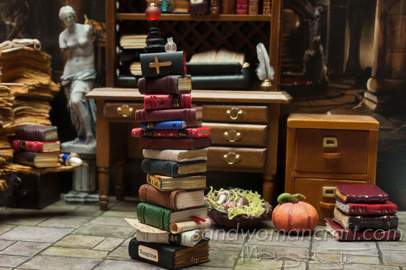 Vampire's themed book stack for dollhouse miniatures