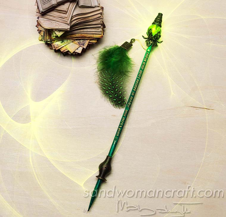 Magical green wand for dollhouse miniatures