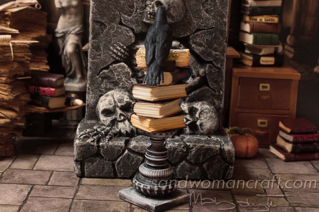Black crow is guarding spell books