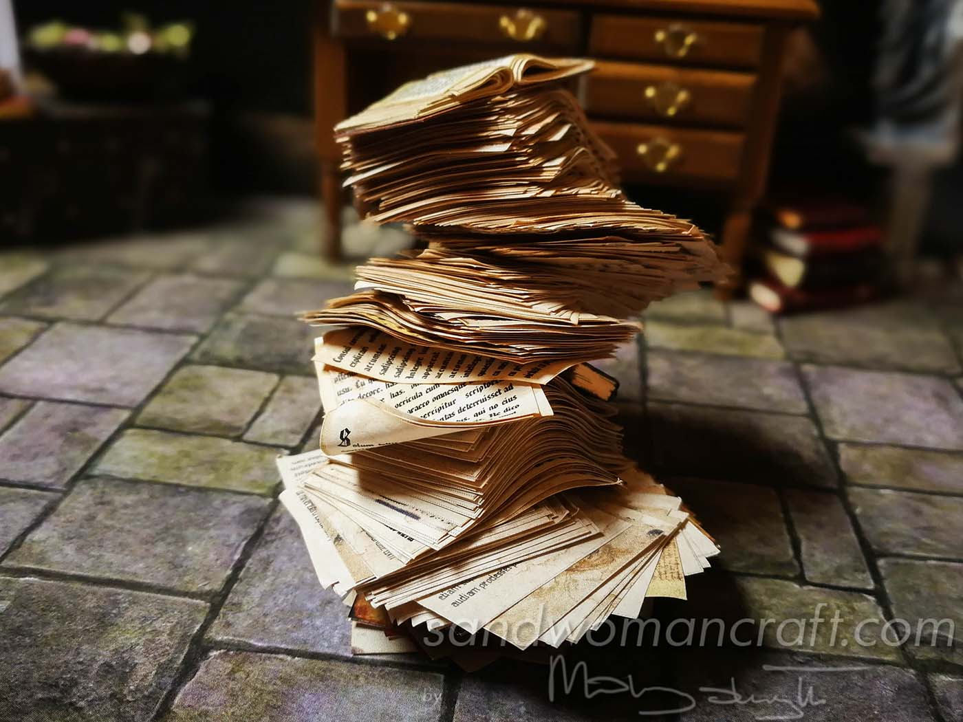 Miniature paper pile in 1:12 scale
