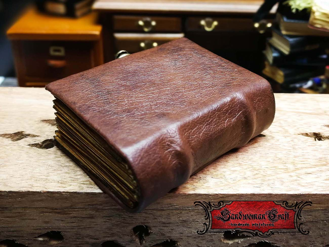 Miniature leather book in 1:6 scale