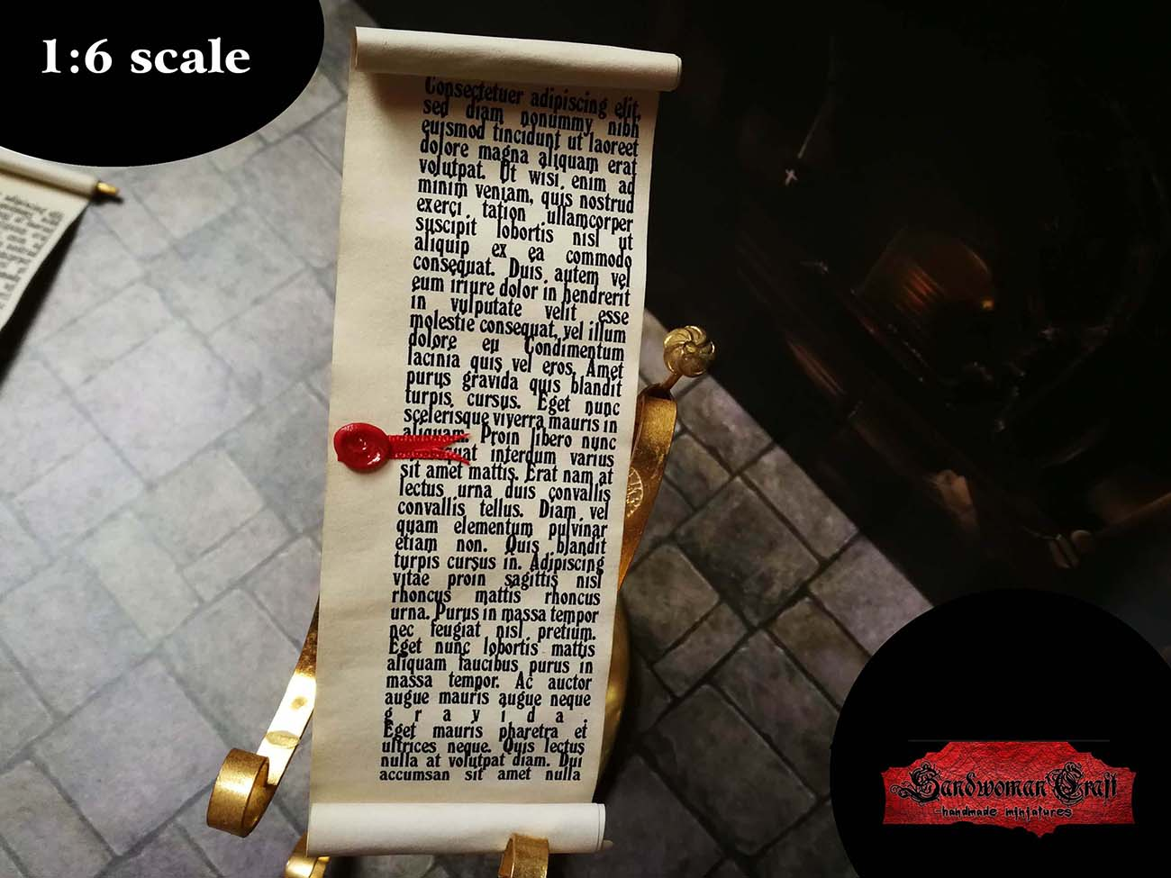 Miniature scrolls in 1:6 scale