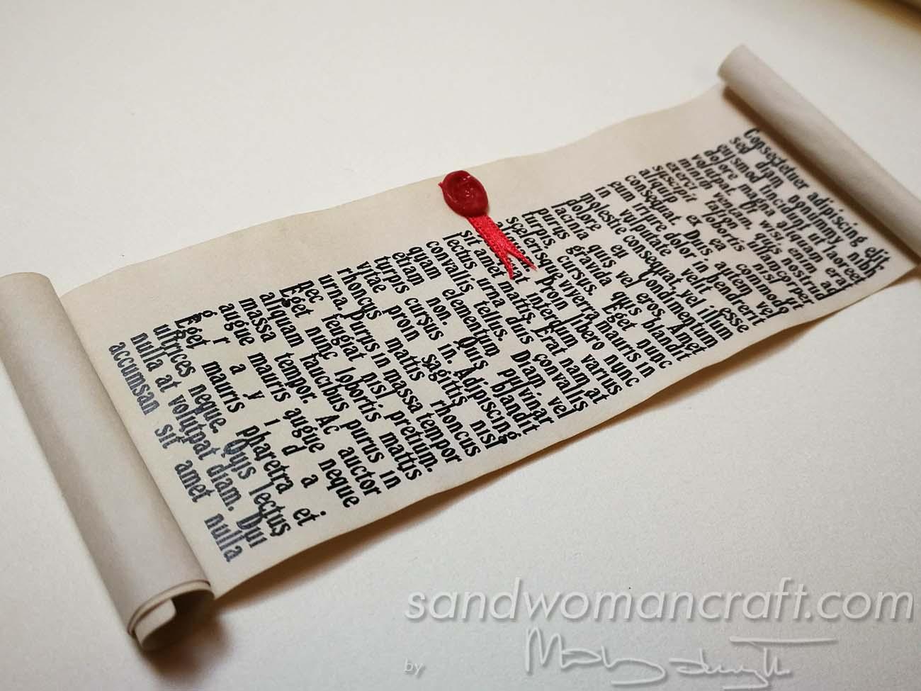 Miniature scrolls in 1:6 scale