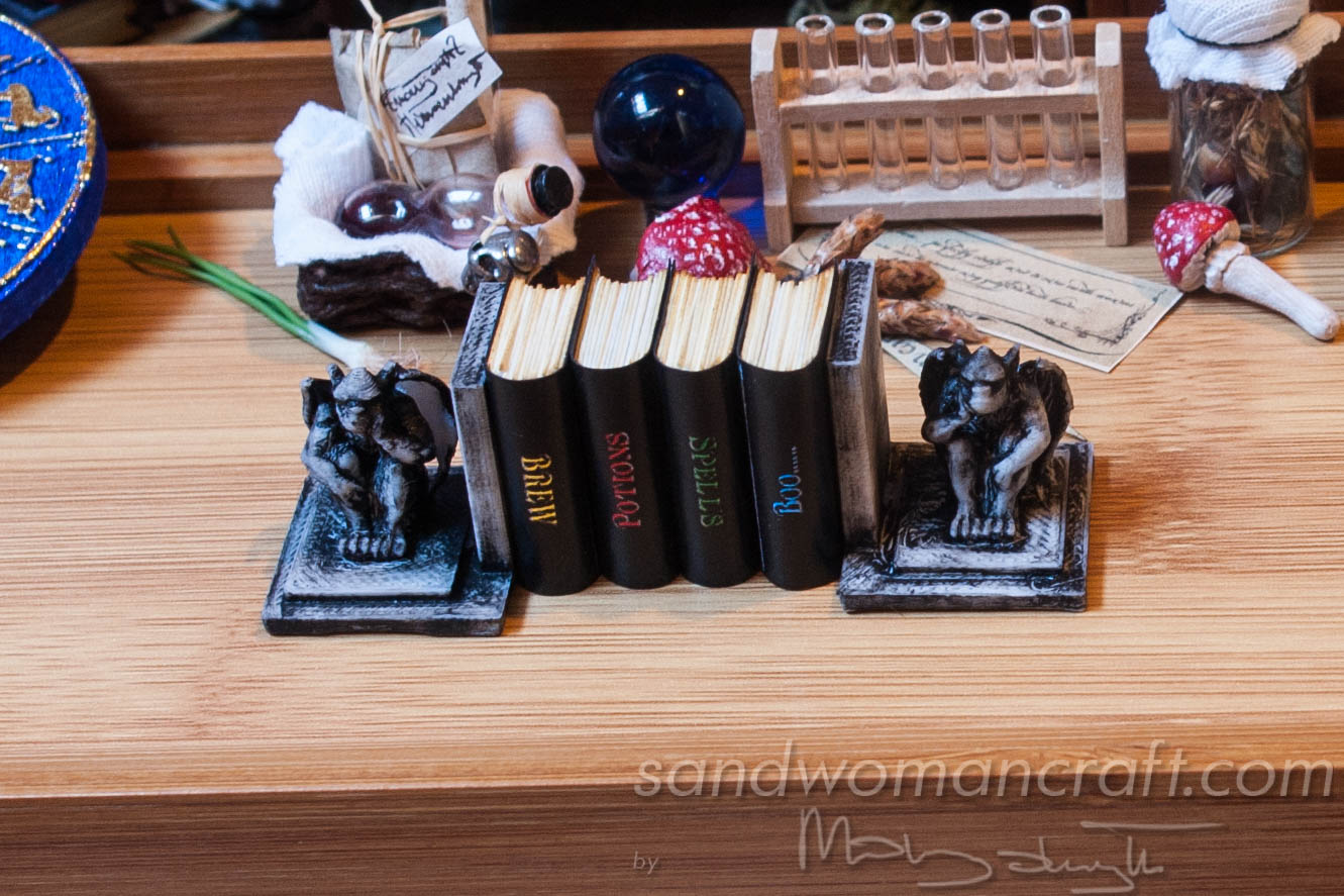 Miniature Magic Books with Gargoyle bookends for dollhouse setting