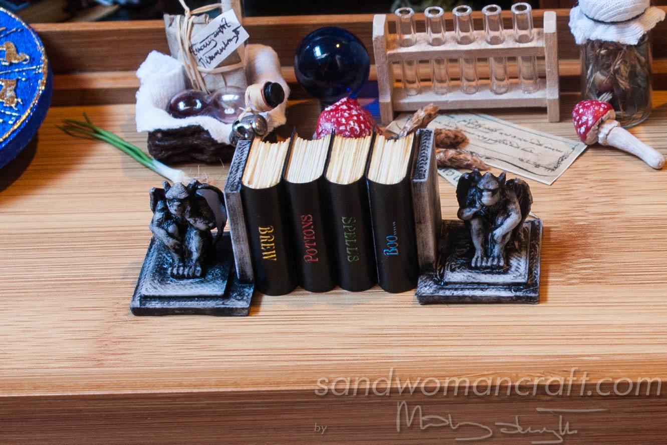 Miniature Magic Books with Gargoyle bookends for dollhouse setting