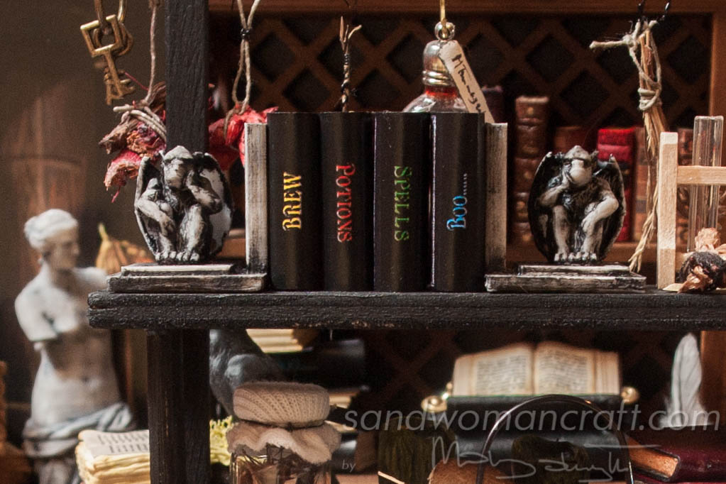 Miniature Magic Books for dollhouse setting