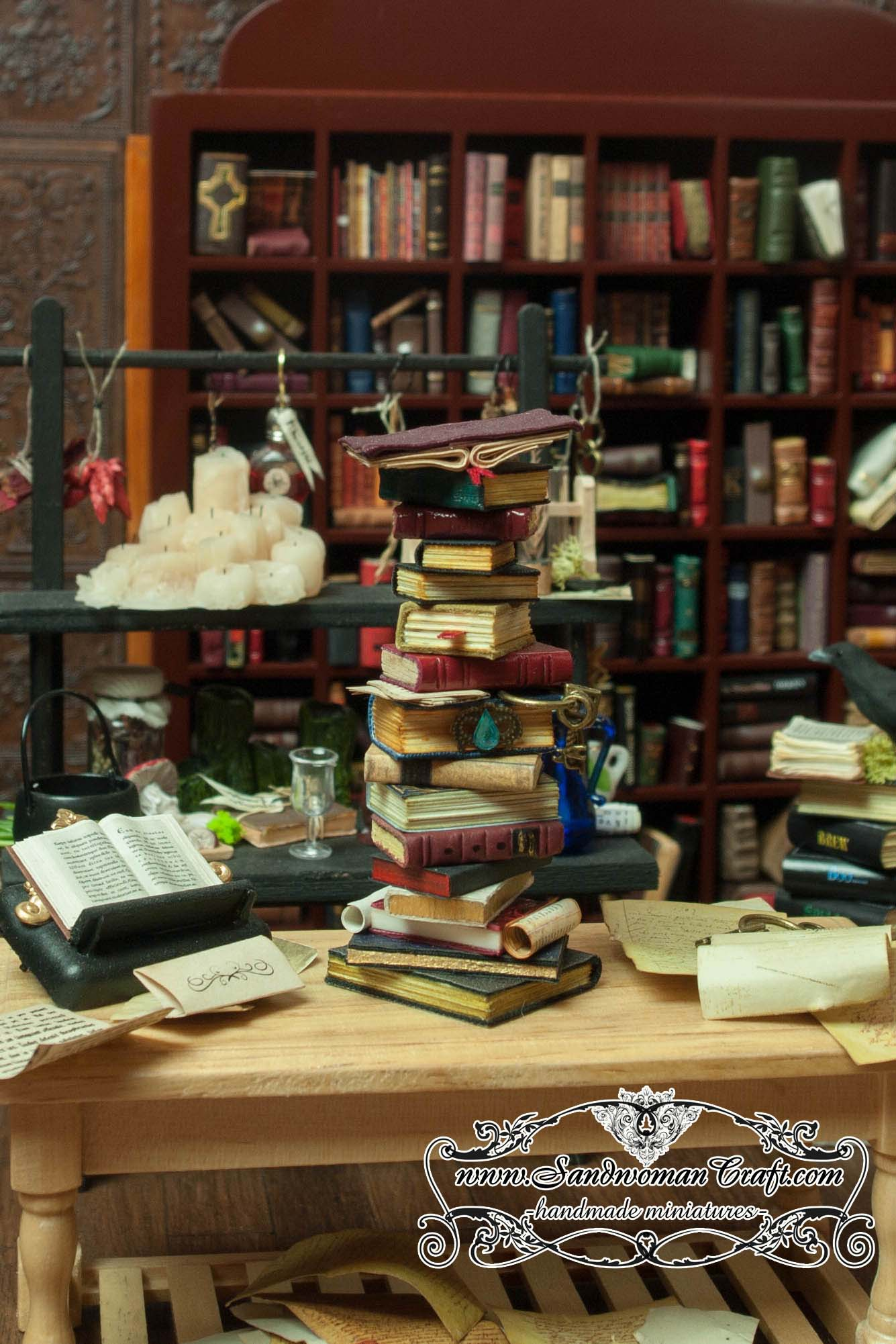 Miniature leather books in 1:12 scale