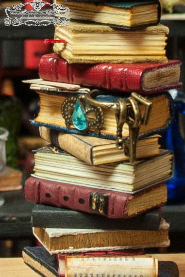 Miniature leather books in 1:12 scale