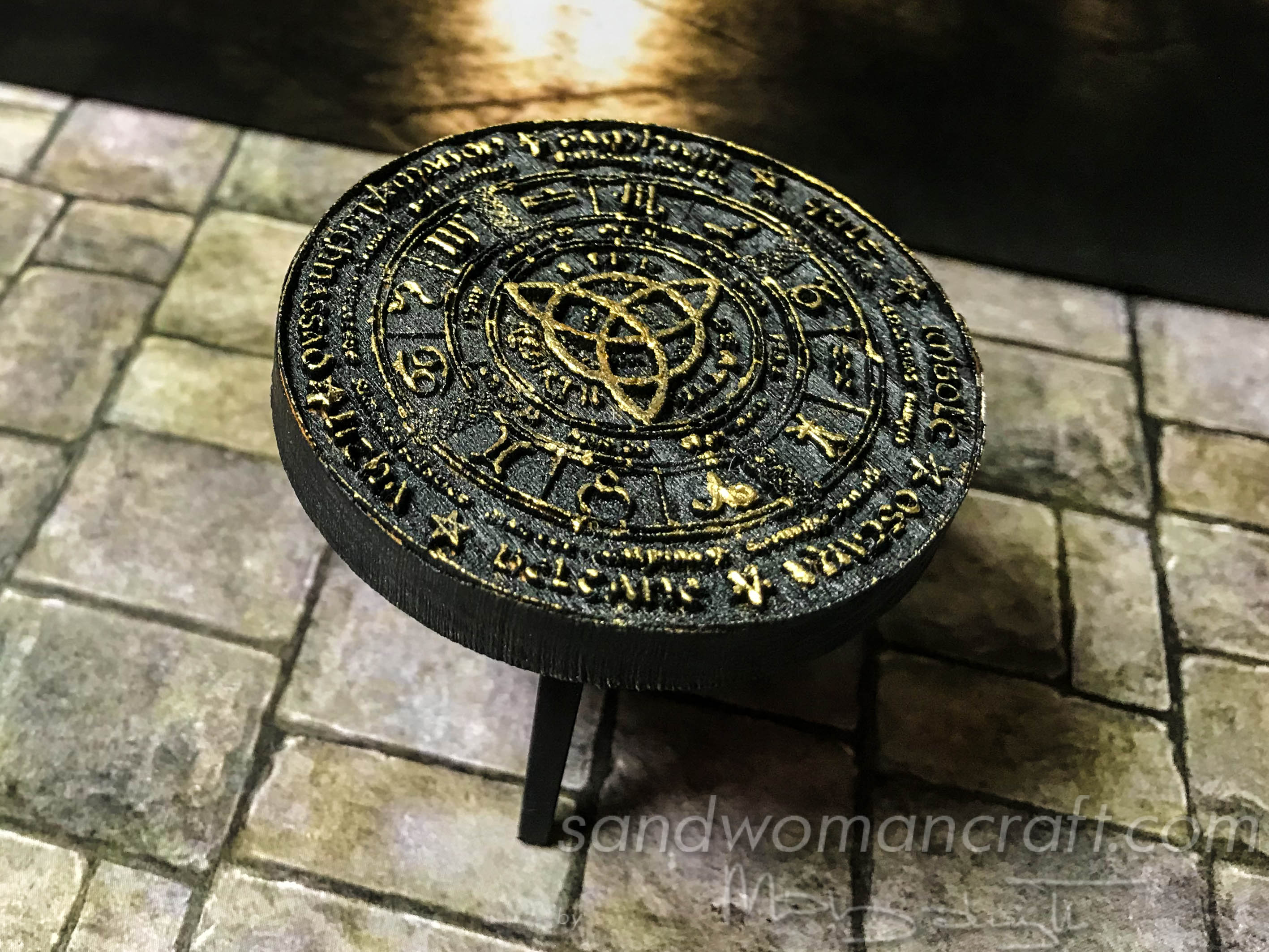 Miniature table with black/ gold Celtic Wheel Of The Year
