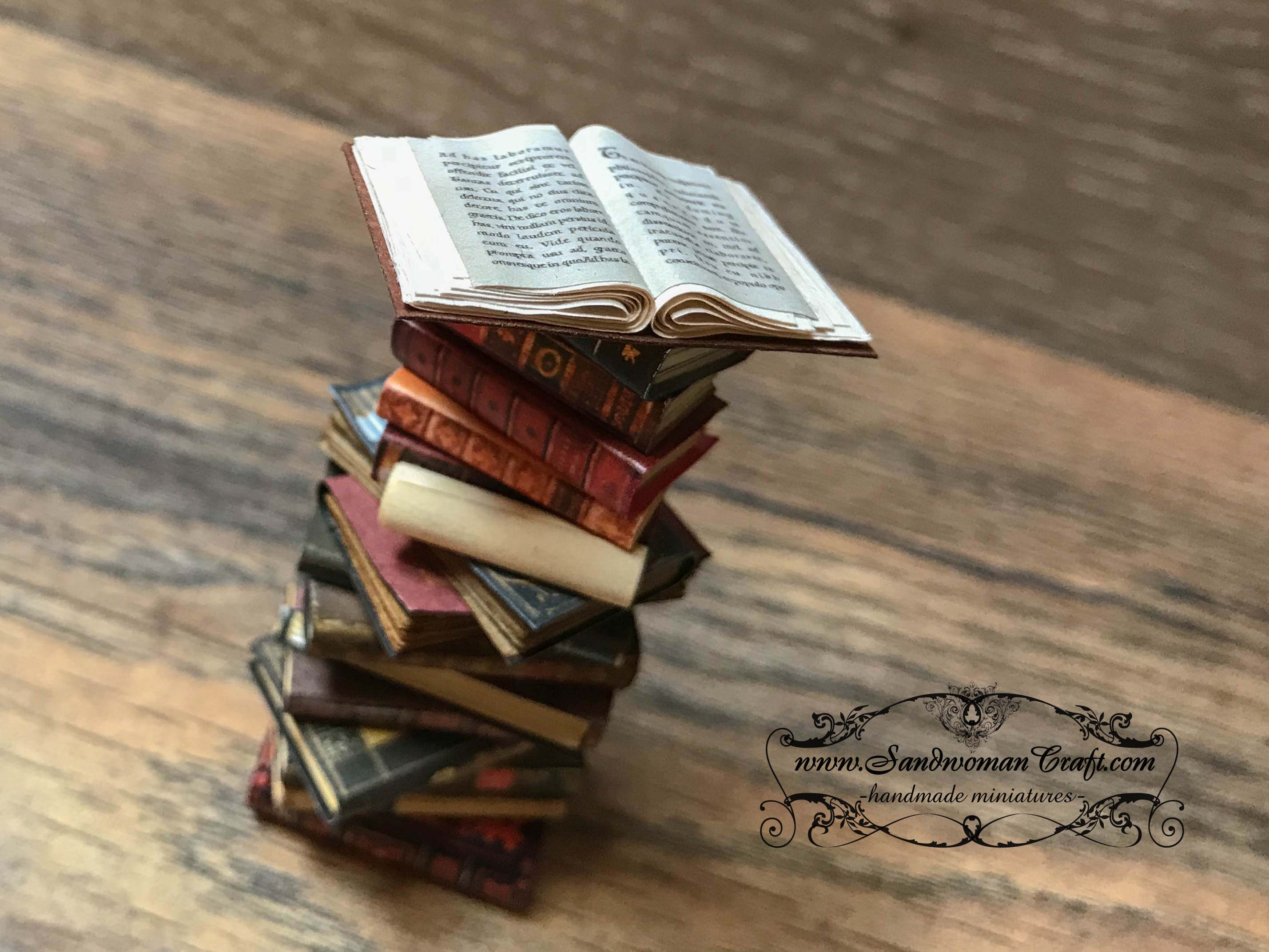Miniature leather books with open book at the top